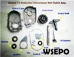 1/2 Reduction Wet Clutch for GX160/GX200(168F/170F)Gokart Engine